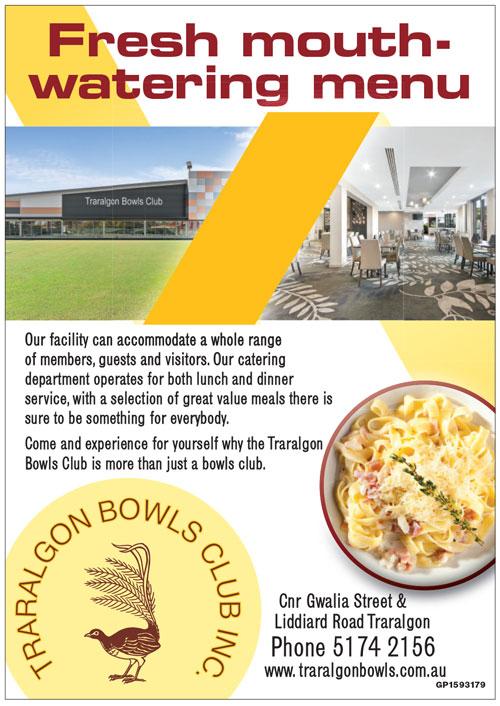 Traralgon Bowls Club Advert